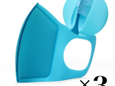 Reusable mask with filter. Blue x3